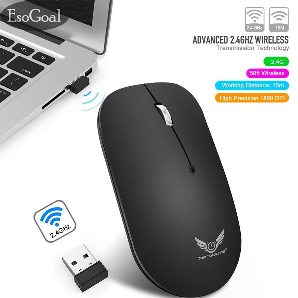 EsoGoal 2.4G Slim Wireless Mouse with Nano Receiver, Portable Mobile Optical Mice for Notebook, PC, Laptop, Computer, Macbook - Black
