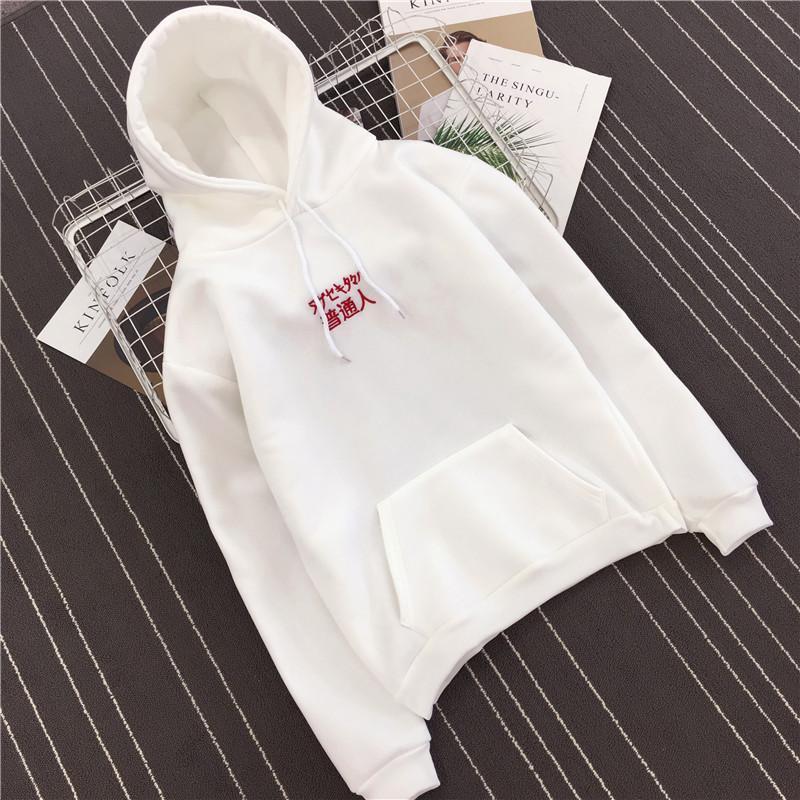 Tambah beludru hoodie baju hoodies keren Kaos Sweater perempuan pasang pasangan 2018 model baru lengan panjang wanita Harajuku Gaya Korea bf murid longgar - 2