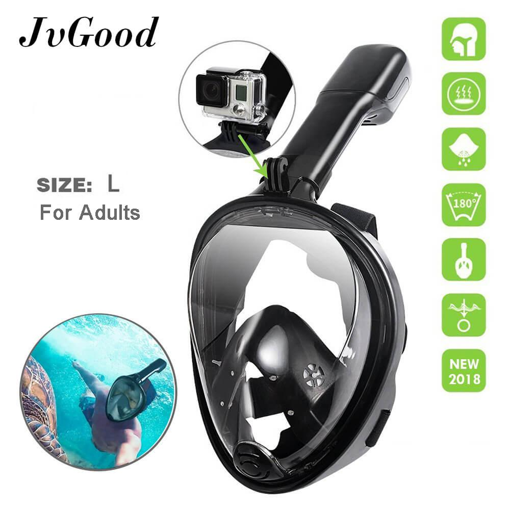 Low Cost Jvgood Snorkel Mask Original Full Face Snorkeling And Diving Mask L With 180° Panoramic Viewing Longer Ventilation Pipe Watertight Gopro Compatible Anti Fog Anti Leak Technology For Adults