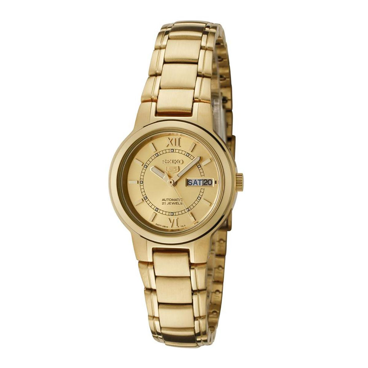 Discounted Seiko Watch 5 Automatic Gold Stainless Steel Case Stainless Steel Bracelet Ladies Japan Syme58K1