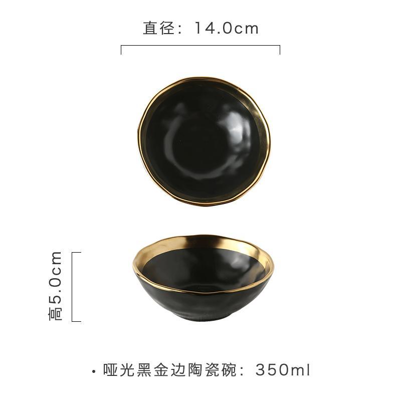Zurich 58 Mangkuk keramik kreatif rumah tangga model Jepang Phnom Penh hitam matte ukuran besar/