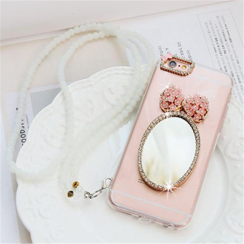 Detail Gambar For OPPO A83 Cover Case Girl's Cute Bowknot mirror Phone case Soft clear Back Cover lanyard Terbaru