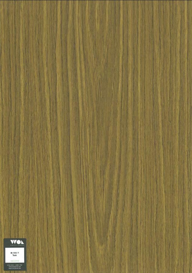 WOL - Laminate 3 ft x 6 ft thickness 0.8 mm Sheets - TEAK IB705T - HPL
