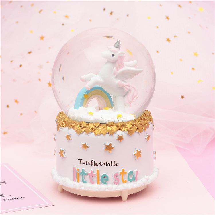 f43f8f108 Creative dream girl heart moon unicorn lover crystal ball home furnishings  Valentine's Day gift music box