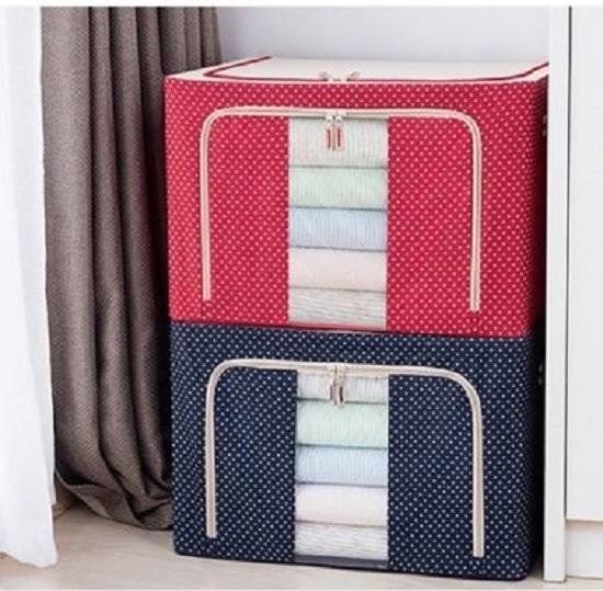 Storage Box With Zip Steel Frame Transparent Window 88L Polka Dot Blue Cheap