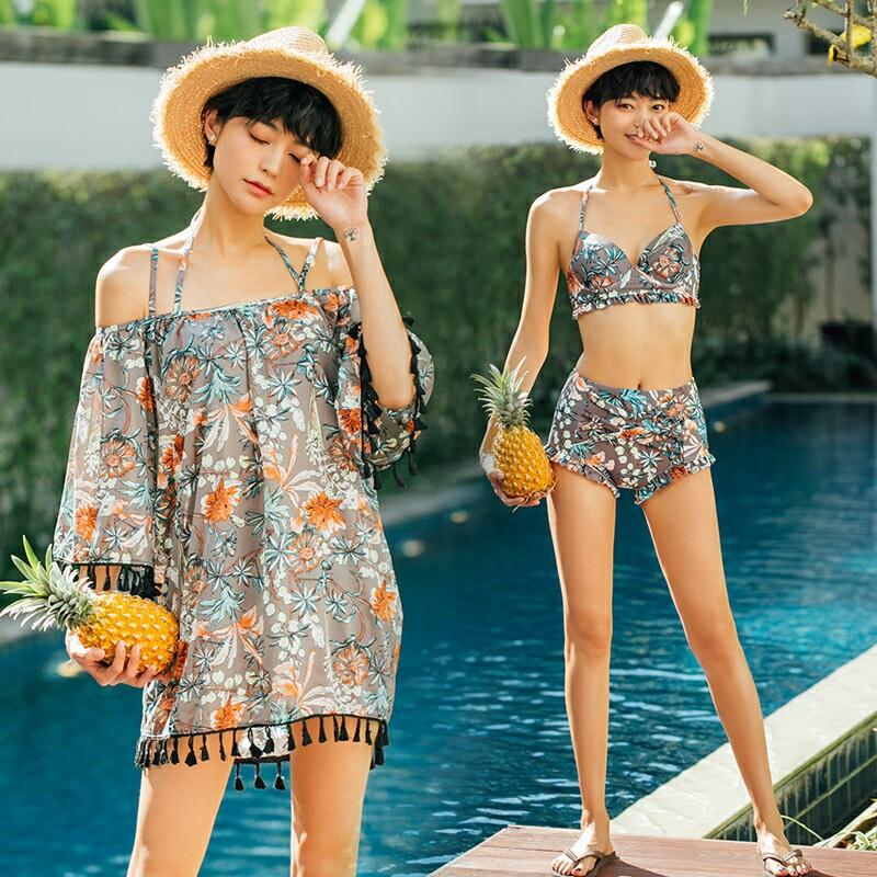13cab8ebf0 HK Mall Women Swimsuits Bikinis Tops Bottom with Cover Up 3-pcs Set Off-