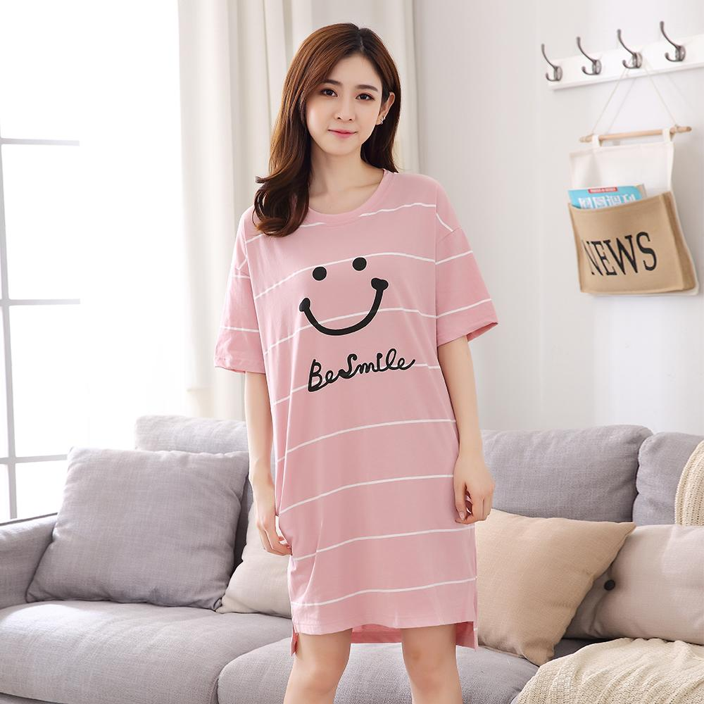 Nightgown women Summer Thin Section Pure Cotton Short Sleeve Cute Large  Size Loose Pregnant Women Sleepwear c3e090916