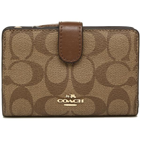 Coach Medium Corner Zip Wallet In Signature Canvas Khaki / Saddle Brown # F23553 + Gift Receipt