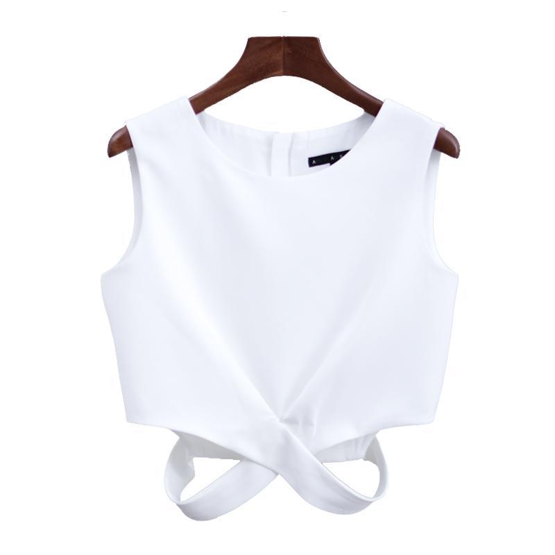 Model baru modis putih berongga kerah bulat pusar terlihat rompi wanita model pendek membentuk tubuh pakaian