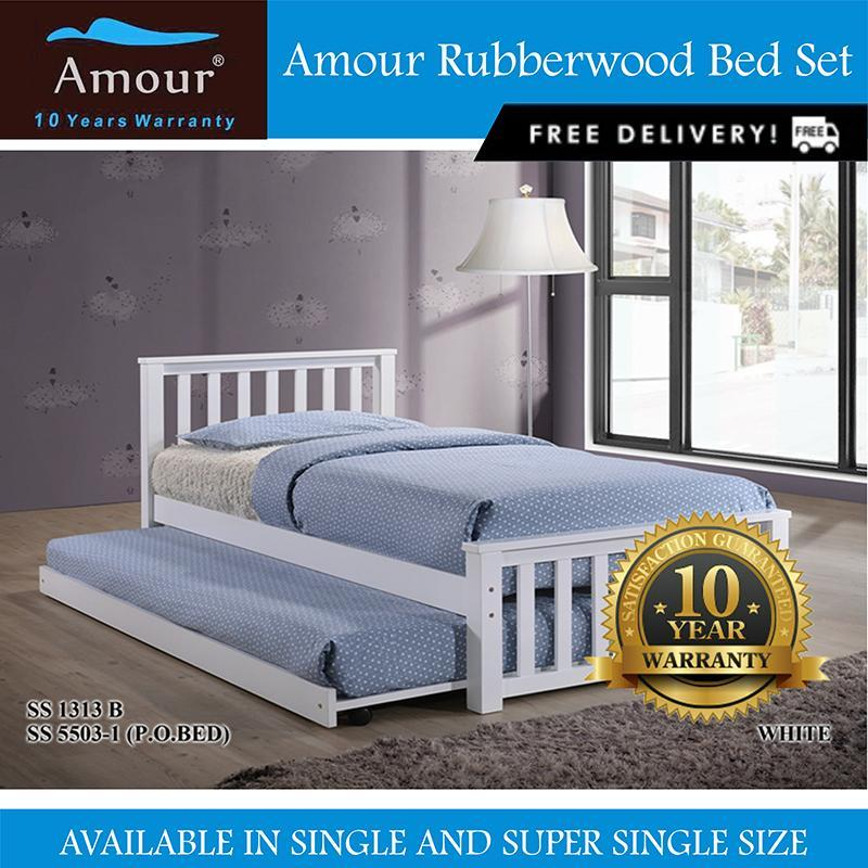 Amour® Solid Wood Super Single size Wooden bed with Single Size pull out bed Free delivery 10 Years Warrranty