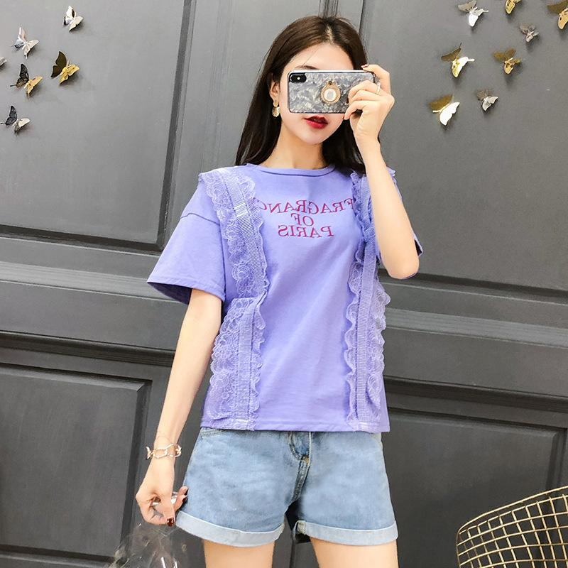 211f139ab285 2018 Summer New Korean Print Letter Jacket Female Splice Lace Short Sleeves  Loose Thin T-