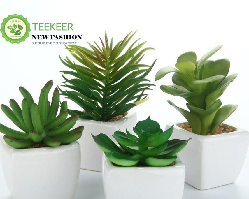Teekeer Set Of 4 Modern White Ceramic Mini Potted Artificial Succulent Plants - intl