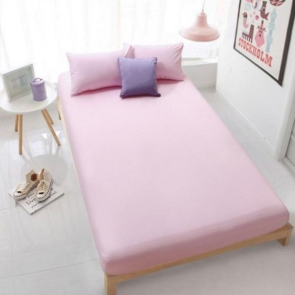 Cheap Sol Home ® 3 Pcs Bedsheet Set Solid Pink 1 Fitted Sheet 2 Pillow Cases Mattress Height Max 30Cm