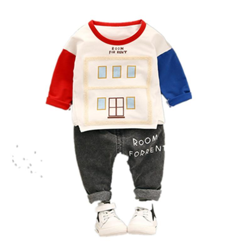 2018 Children's Suit Spring Models Male Baby Long Sleeves Children's Suit Cartoon Color Matching Two-