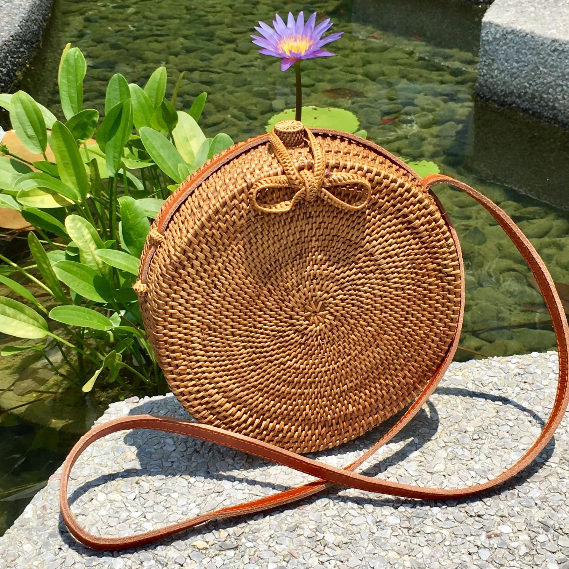 Low Cost Bulan 20 Cm Handwoven Rattan Round Bag Woven Clasp Batik Lining Shoulder Bag Cross Body Bag Summer Bag Handbag Leather Sling Strap Boho Chic Ata Bag Vintage Style Beach Bag