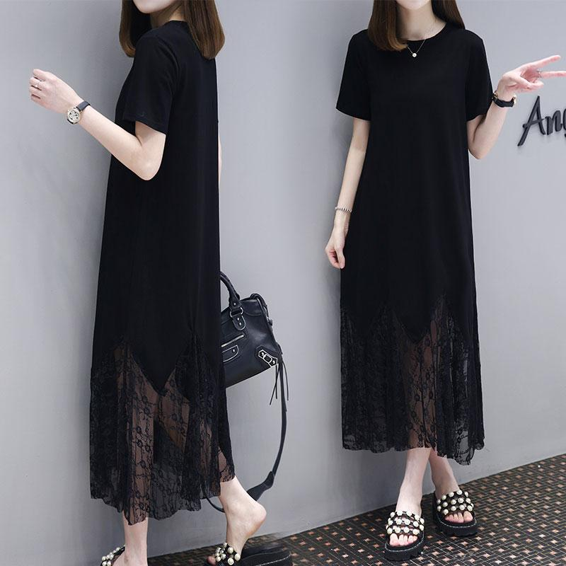 Women's Casual Loose Long Patchwork Short Sleeve O-Neck Maxi Dress Plus Size - intl