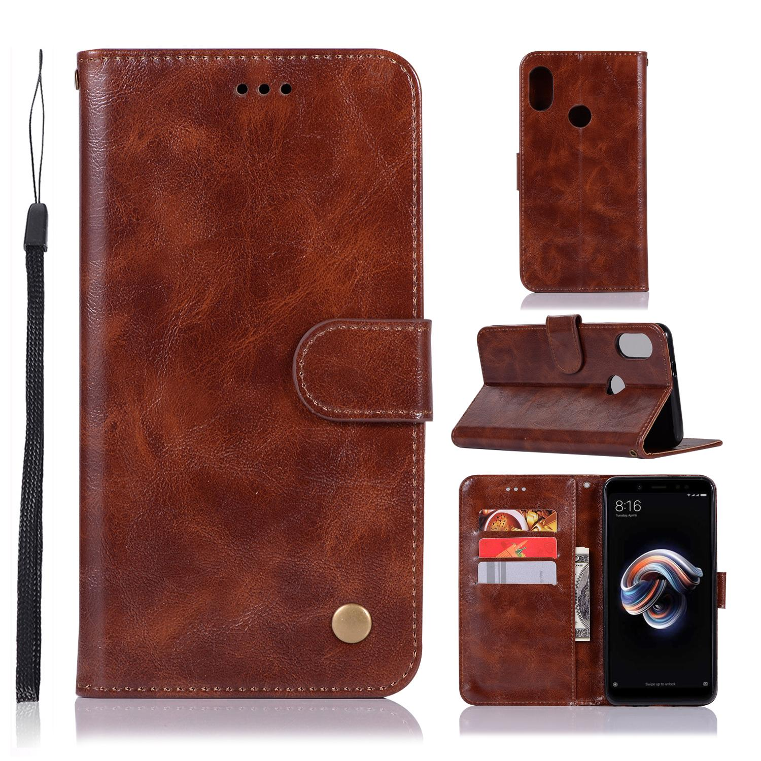 Casing For Xiaomi Redmi Note 5 Pro,reto Leather Wallet Case Magnetic Double Card Holder Flip Cover By Life Goes On.