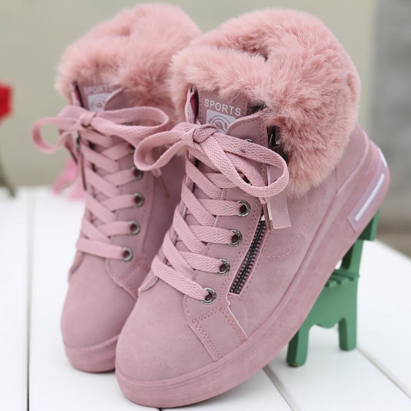 Liang Jiujiu Sepatu Engkel Tinggi Gaya Korea Bulu-bulu Sepatu Katun Musim  Dingin Penghangat 91177fa19a