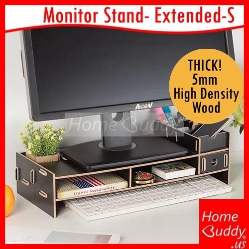 Monitor/ Laptop Stand: version EXTENDED-S_ THICK 5mm High Density Wood_ READY Stocks SG. Reach you 2 to 4 work days_ HomeBuddy_ Acev Pacific