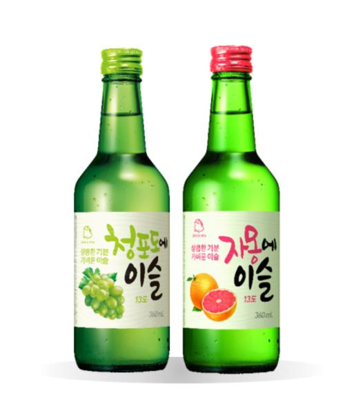 Flavored Jinro Soju Twin Set (green Grape + Grapefruit) By Geonbae.