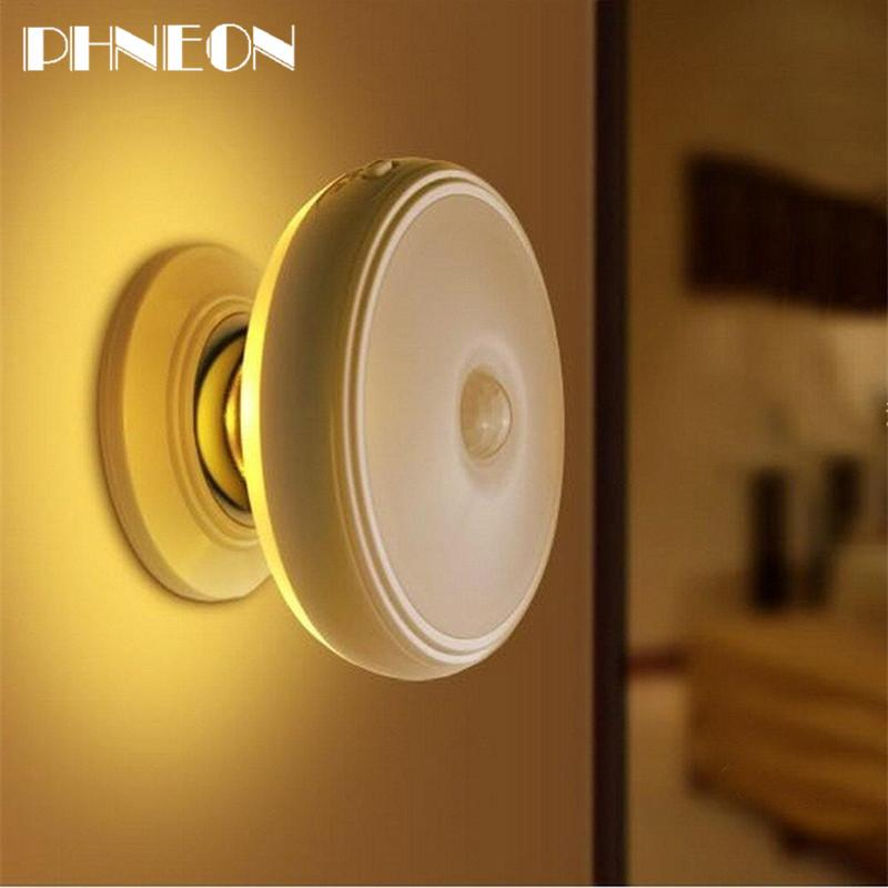 PHNEON Rechargeable Motion Sensor Pir Wireless Small Led Light Automatic Baby Kids Night Wall Lamp For Children Room Stairs Furniture