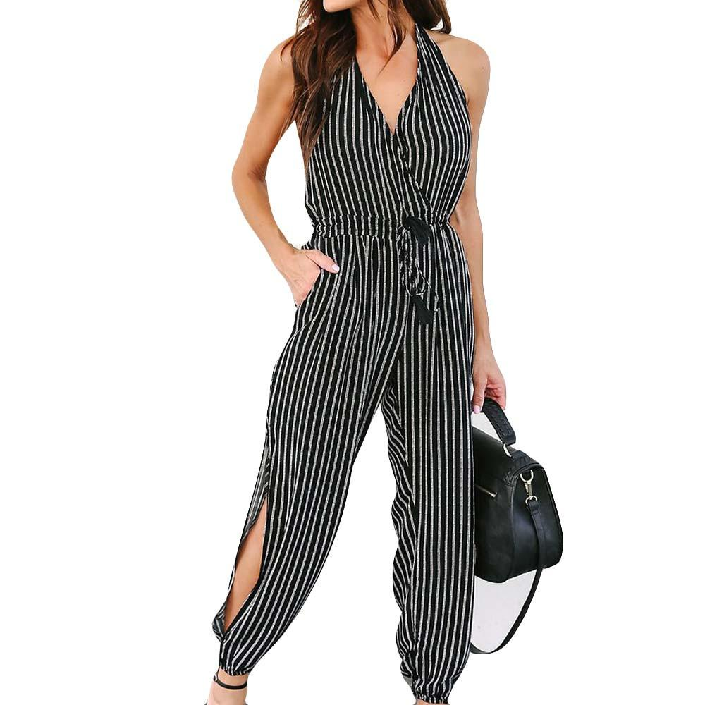 55c6692c9e9 Simpyfine Women Camisole Stripe Print Jumpsuits Lady Loose Playsuit Long  Wide leg Trousers