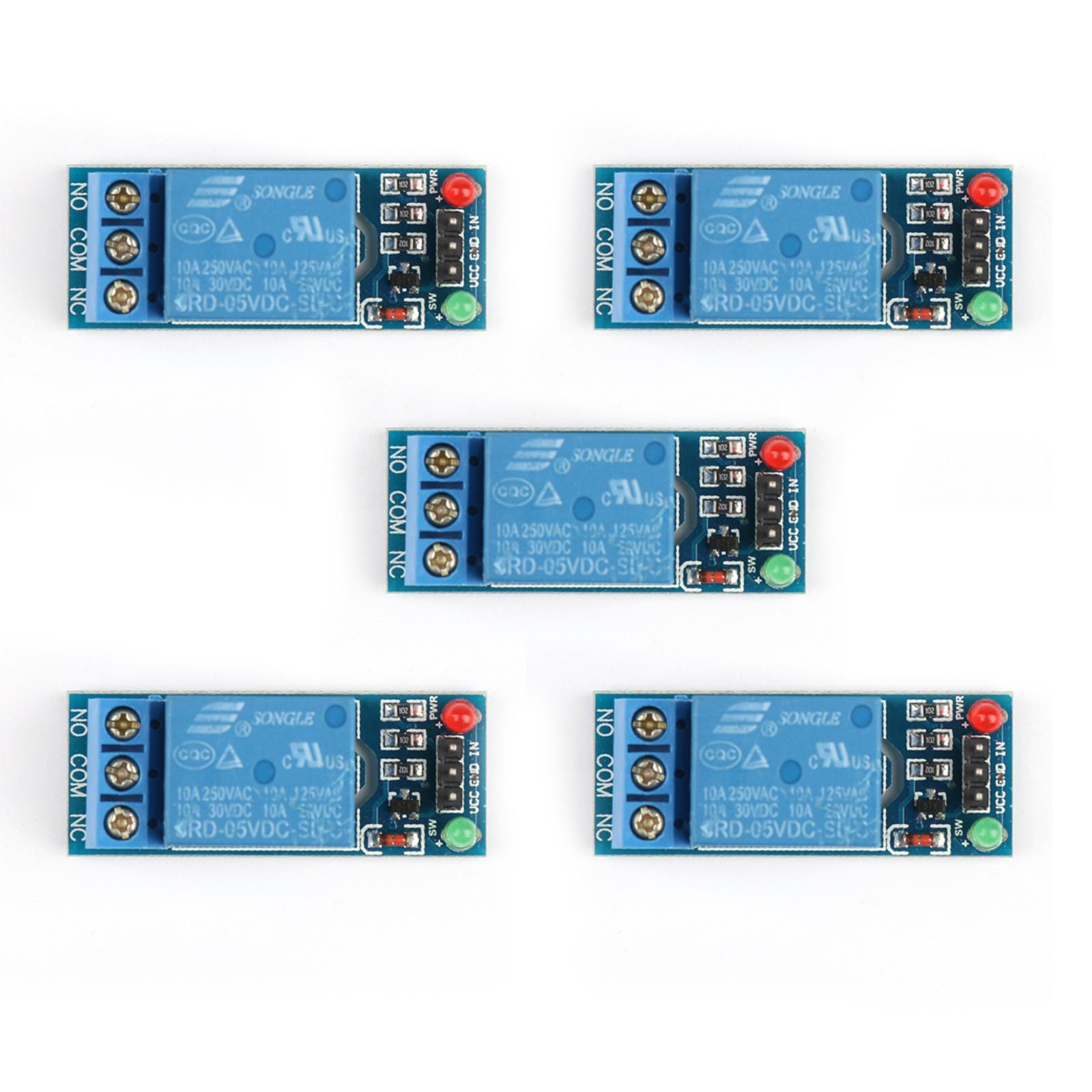 Areyourshop 5pcs 1 Channel Dc 5v Relay Switch Module For Arduino Raspberry Pi Pic Arm Avr