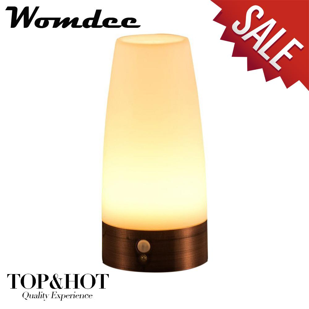 Womdee Wireless Motion Sensor LED Table Lamp, Battery Powered Indoor Retro Night Light Warm White For Kids Room, Bedroom, Bedside, Bathroom, Hallway(Round) - intl