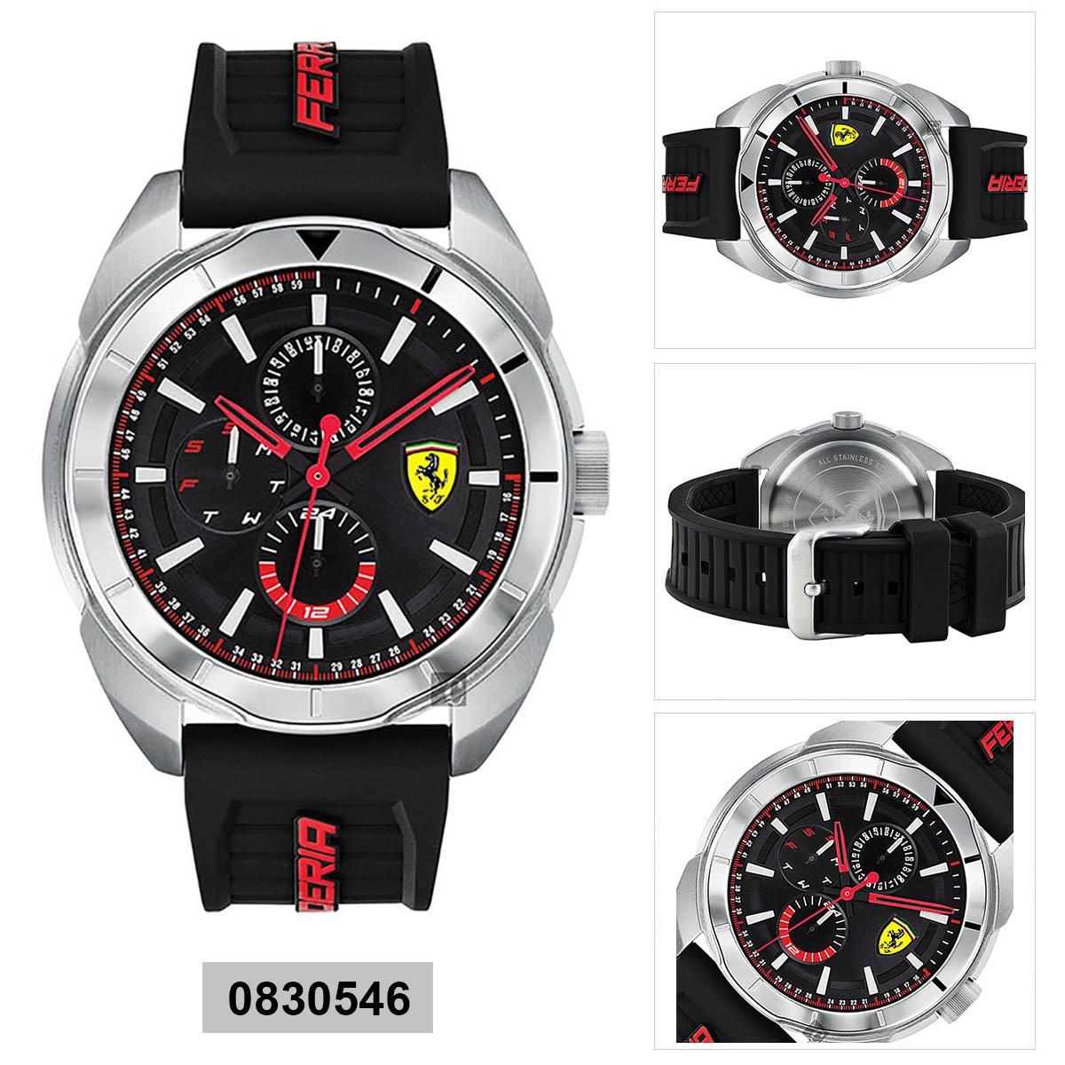 Ferrari Ferrari Mania Fast Black Stainless-Steel Case Rubber Strap Mens NWT + Warranty 0830546