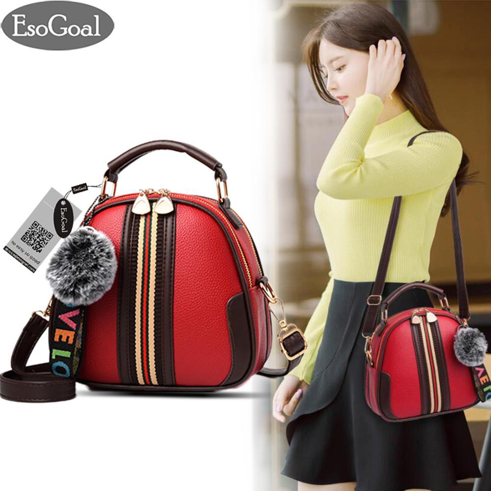 How To Buy Esogoal Women Fashion Top Handle Handbag Pu Leather Shoulder Bag Tote Purse Messenger Satchel Bags With Lovely Plush Ball