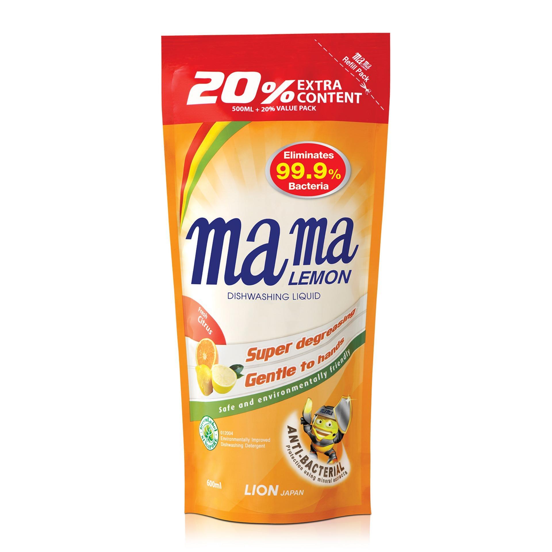 Mama Lemon Dishwashing Liquid Anti-Bacteria Citrus Refill 600ml