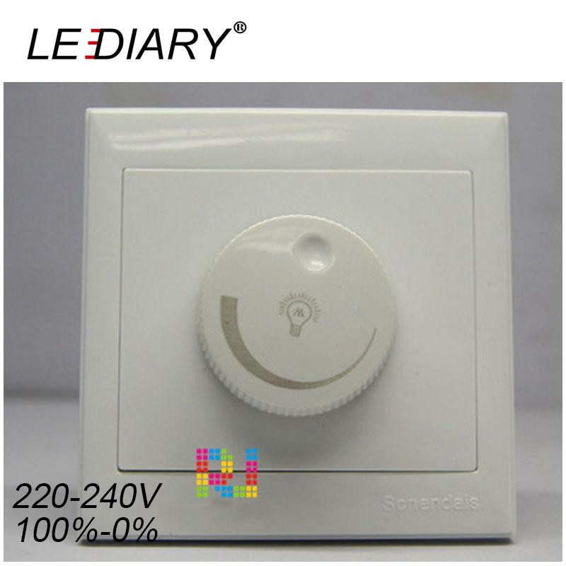LEDIARY LED Triac Dimmer Square 300W 110V/220V White 86MM Rotatable Switch Brightness Controller For Dimmable Light Bulb Lamp