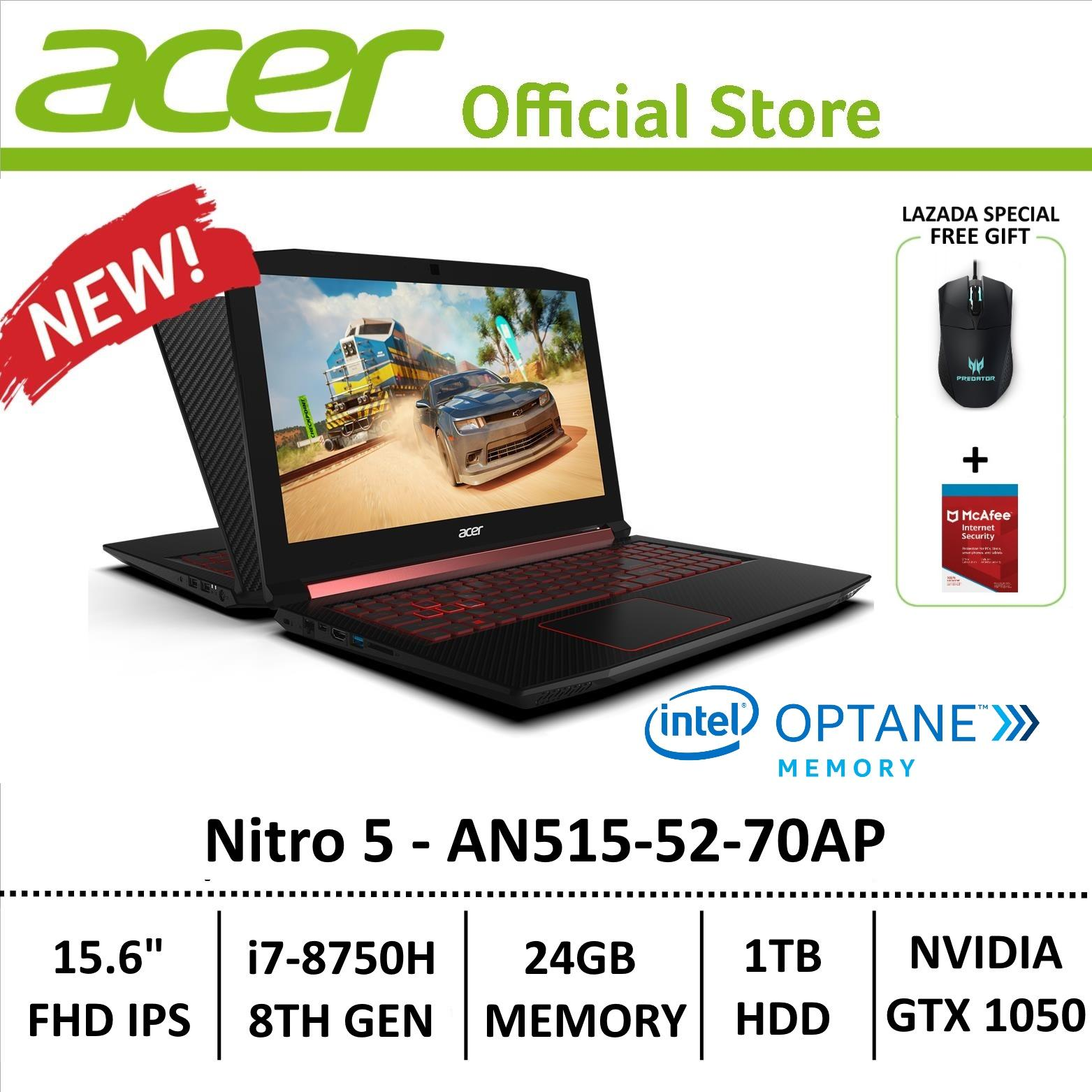 Acer Aspire Nitro 5 AN515-52-70AP Gaming Laptop - 8th Generation Core i7+ Processor with GTX 1050 Graphics (Optane Memory) + Free Gift