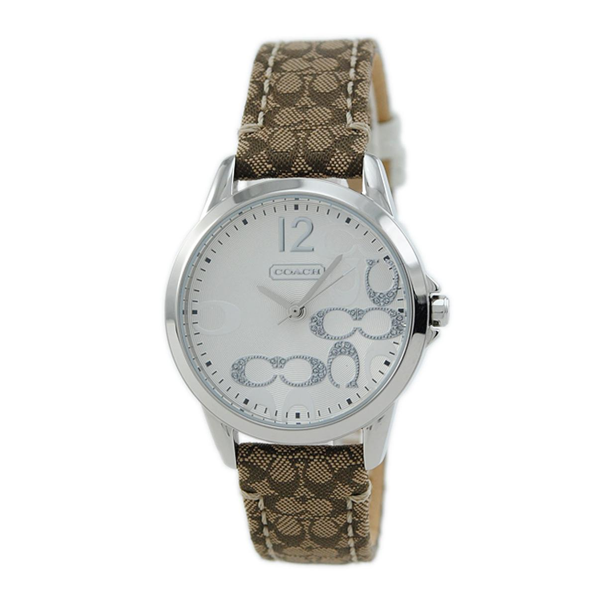 Latest Coach Watch Classic Signature Brown Stainless Steel Case Leather Strap Ladies 14501620