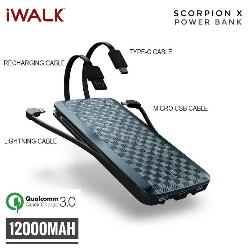 Iwalk Scorpion 12000X Powerbank Built In 4 In 1 Cables With Qc 3 12000Mah Portable Battery Power Bank Online