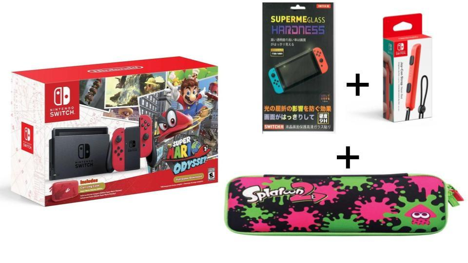 Where To Buy Nintendo Switch Super Mario Odyssey Splatoon Case Screen Protector Joy Con Strap 12 Months Warranty