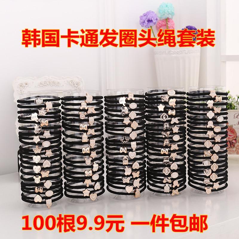Girls rubber band hair rope elastic tousheng (Black buckle bold Models 100)