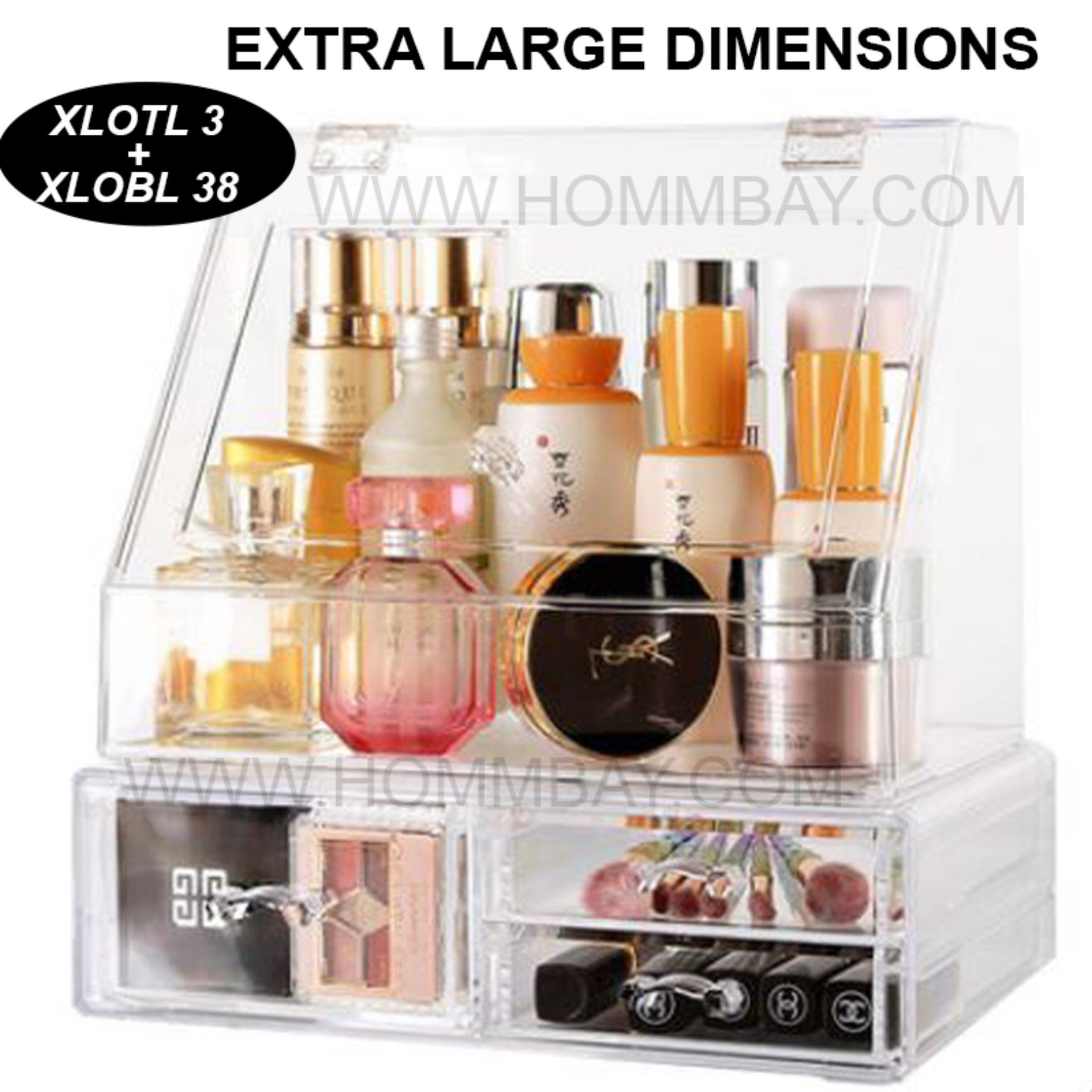 Clear Acrylic Transparent Make Up Makeup Cosmetic Lipstick Jewellery Jewelry Organiser Organizer Drawer Storage Box Holder I Extra Large I Stackable I XLOTL 7 I XLOBL 38
