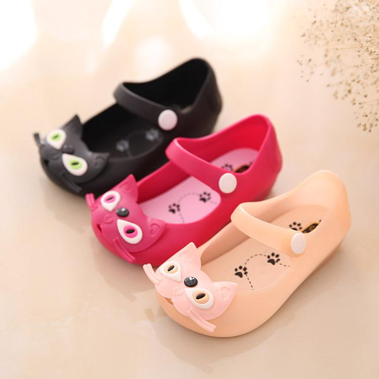 bb085d1cfab56f 2018 kids Girls sandals jelly shoes Satin bow PVC soft children Cat Cute  sandals boys Rain