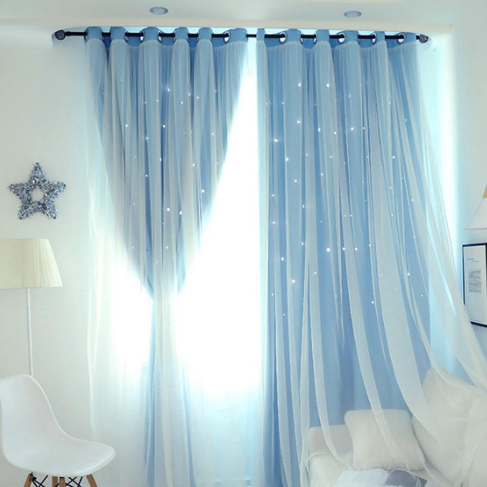 Hollowed Out Star Shading Window Curtain Drapes Purdah for Home Living Room Beding room