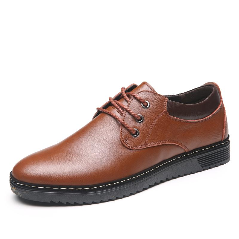 Price Comfortable Leather Black Lace Up Business Casual Shoes Flat Leather Shoes Online China