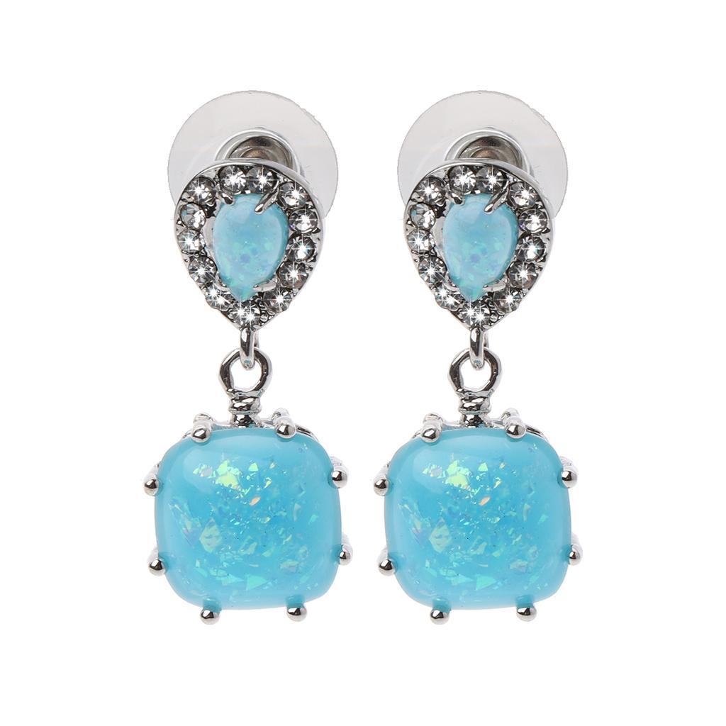 Rhodium Plated White Blue Fire Opal Zircon Women Jewelry Gemstone Drop Earrings