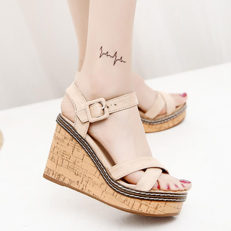 Korean Style Spring Student Thick Bottomed Sandals Wedge Heels Cheap