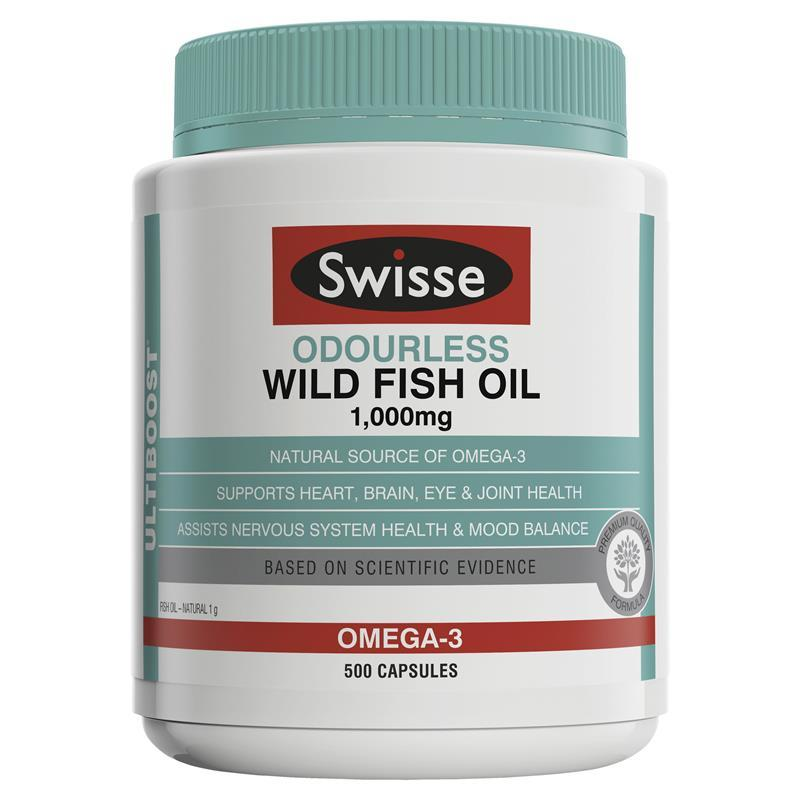 Swisse Ultiboost Odourless Wild Fish Oil 1000mg 500 Capsules