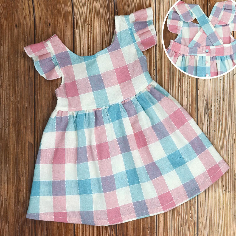 Best Offer Kids Girls Pastel Checker Cross Back Dress