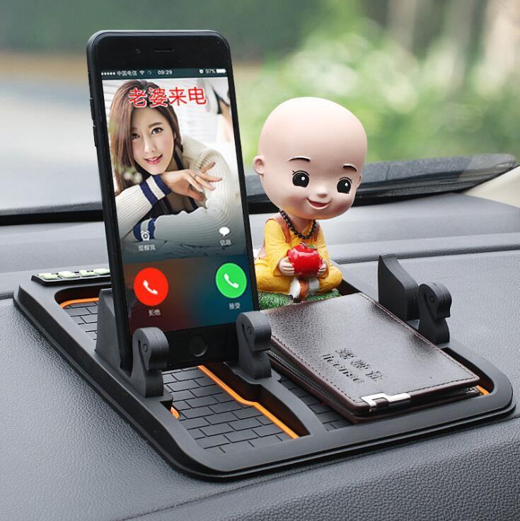 ... Bagian dalam mobil Holder HP rak Konsol Tengah pad Anti Slip untuk di mobil tahan suhu