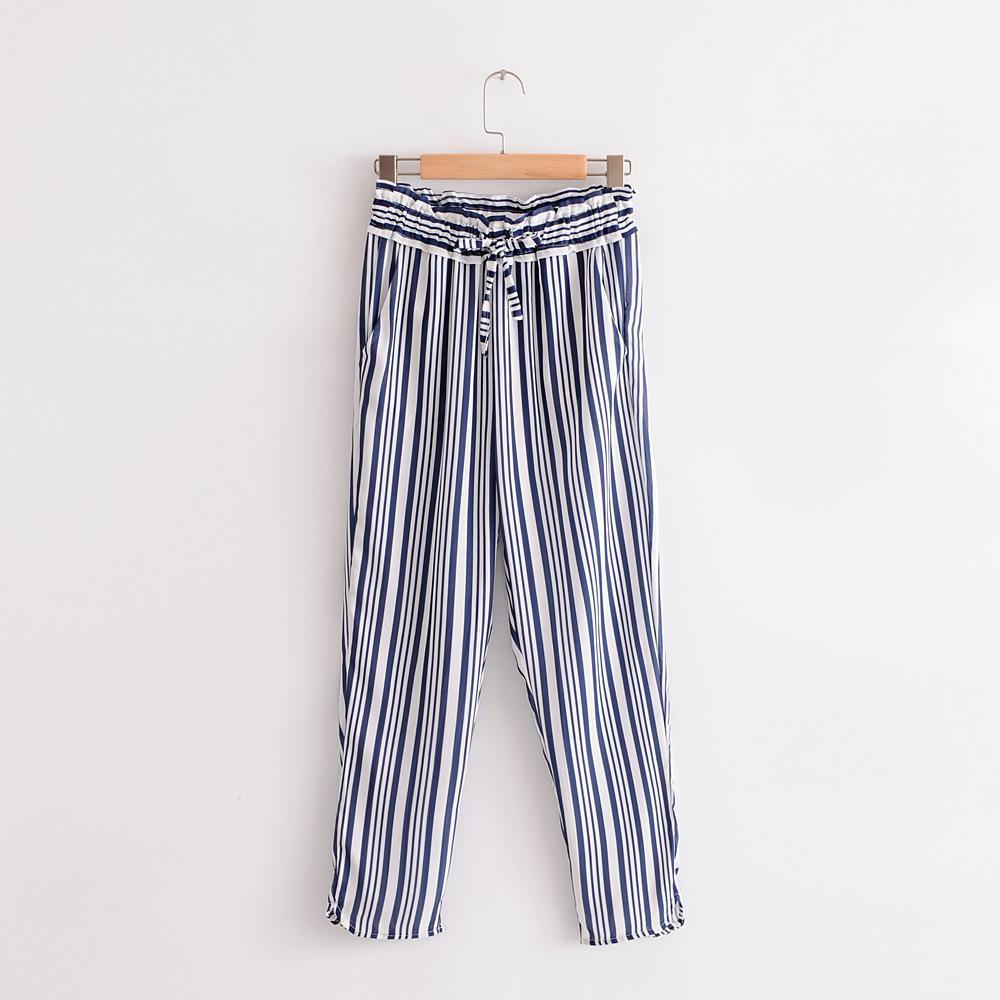 ZA Kantong Kertas Celana Eropa dan Amerika Baru Pakaian Wanita Pinggang Elastis