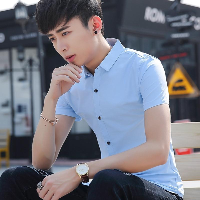 Korean version of the solid color men slim fit business casual shirt short sleeve shirt