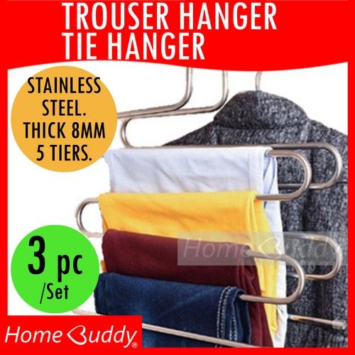 Stainless Steel Trousers Hanger Up To 5 Pairs Tie Hanger Up To 20 Pieces Garment Hanger Ready Stocks Sg Reach You 2 To 4 Work Days Homebuddy Acev Pacific In Stock