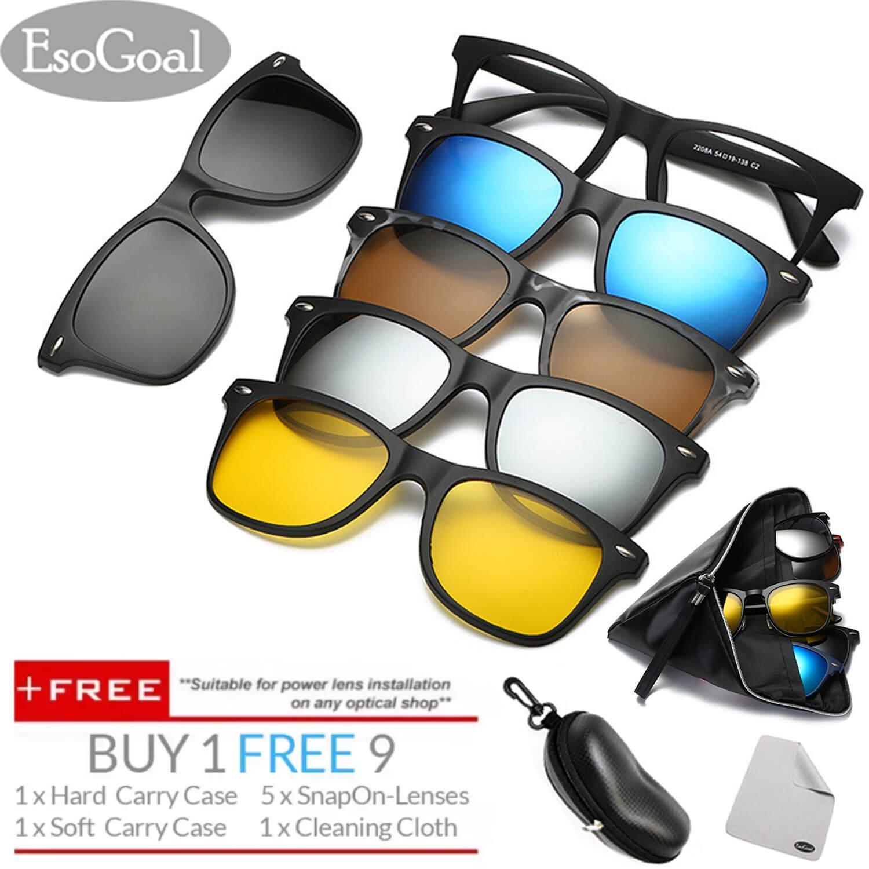 Where Can You Buy Esogoal Magnetic Sunglasses Clip On Glasses Unisex Polarized Lenses Retro Frame With Set Of 5 Lenses